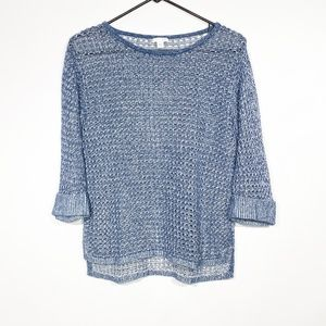 J. Jill Open Knit Pullover Sweater XS Blue